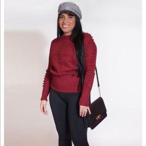 Cozy beaded-ball sweater